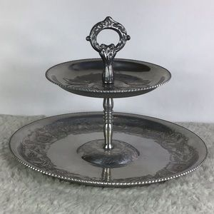 Vintage Aluminum Tiered Serving Tray 1950s